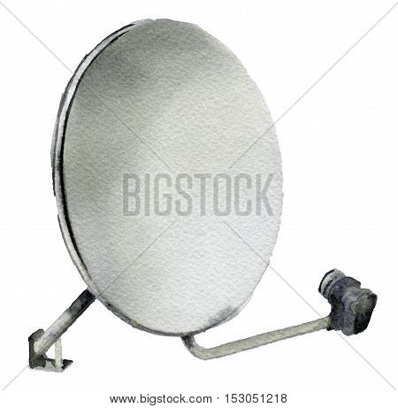 watercolor sketch of satellite dish on white background