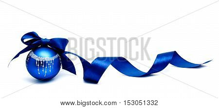 Perfect blue christmas ball with ribbon isolated on a white background
