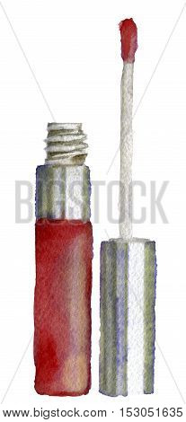 watercolor sketch of lip gloss on white background
