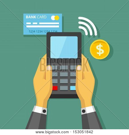 Hands holding credit card and pay terminal