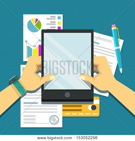 Office workplace. Paperwork, analytics flat business illustration