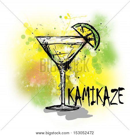 Hand drawn illustration of cocktail. KAMIKAZE cocktail.