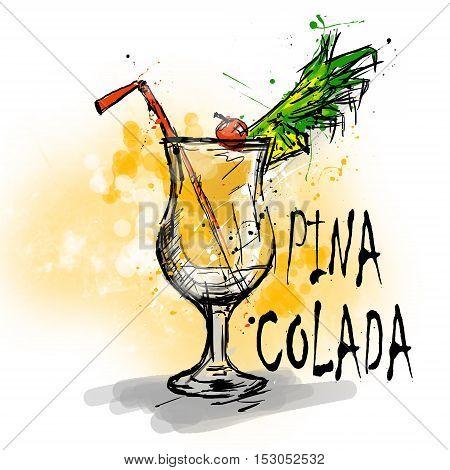 Hand drawn illustration of cocktail. PINA COLADA
