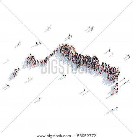 Large and creative group of people gathered together in the form of a map Turks and Caicos Islands, a map of the world. 3D illustration, isolated against a white background. 3D-rendering.