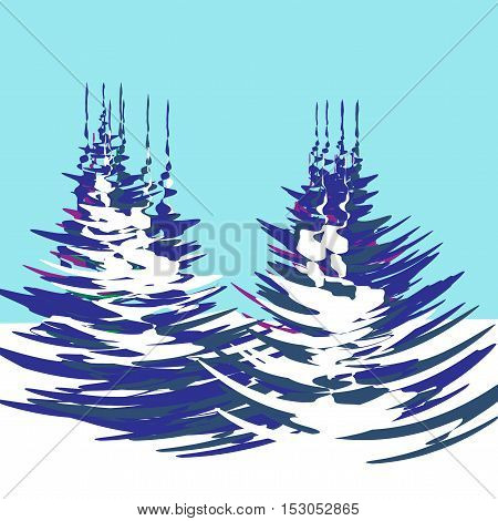 Christmas, New Year. The stylized image of trees with a winter day. Vector illustration