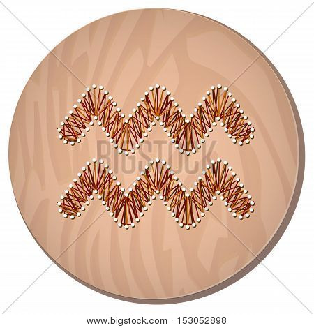 Aquarius zodiac sign in circular frame vector Illustration made in the form of filaments. Icon on a wooden background
