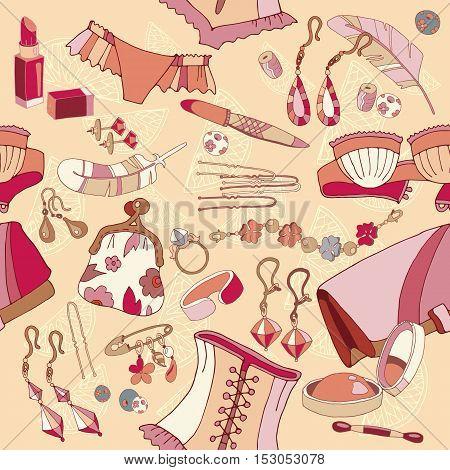 Woman accessories seamless pattern fashion background underwear cosmetics jewelry hand drawn vector