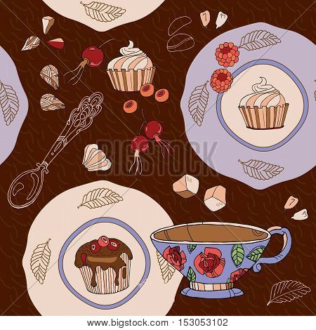 Tea seamless pattern cute sweets saucers cups vector