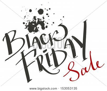 Black Friday Sale. Lettering text. Isolated on white vector illustration
