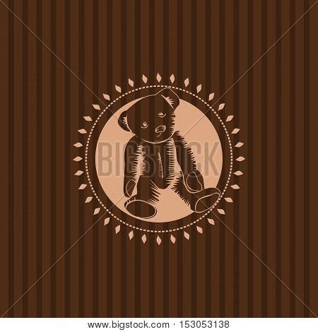 Retro vintage illustration of a teddy bear