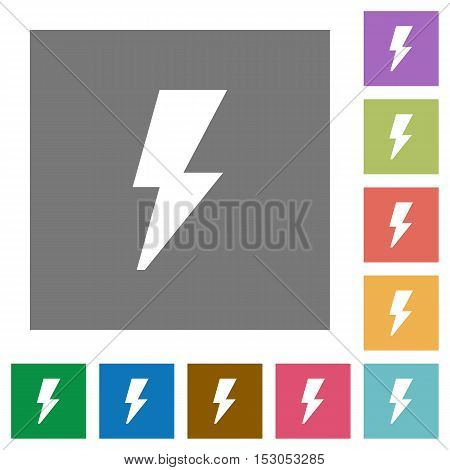 Flash flat icons on simple color square background.