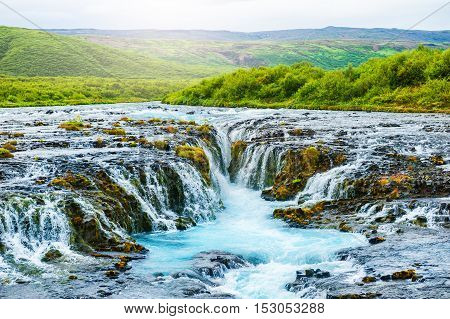 Bruarfoss waterfall in south Iceland. Beautiful summer landscape