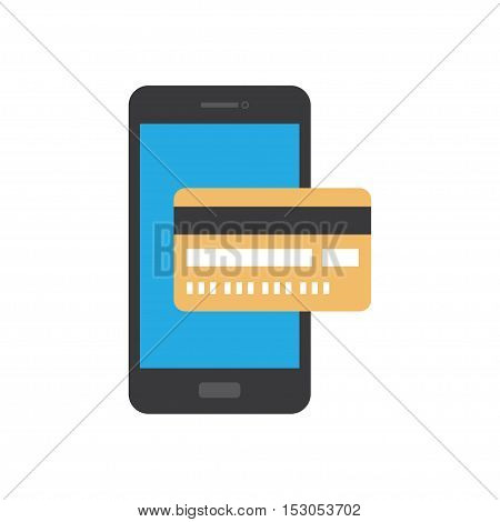 modern smartphone with processing of mobile payments from credit card on the screen. Internet banking concept. wireless money transfer. Flat design style vector illustration