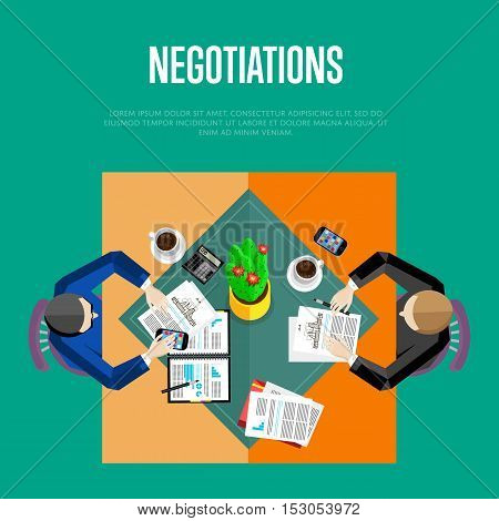 Business negotiations concept. Top view business workplace, vector illustration. Overhead view of businessmen talking at office desk in conference room. Business people template.