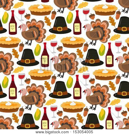 Happy thanksgiving day seamless pattern card design with holiday objects. Fresh food harvest autumn season thanksgiving day vector set. Traditional seasonal nature vegetable thanksgivin
