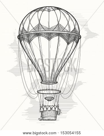 retro hand drawing hot air balloon vintage hot air airship vector sketch