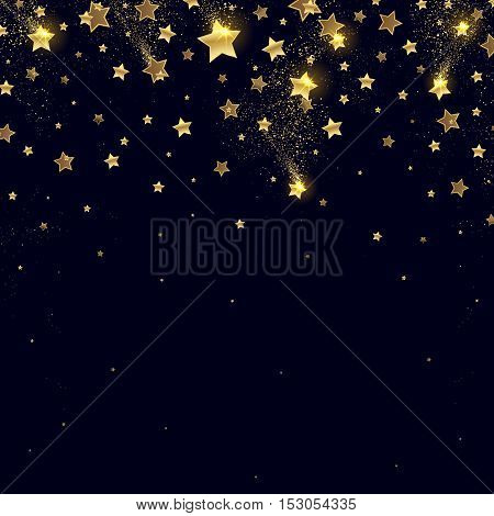 salute of golden stars with sparks on a dark background
