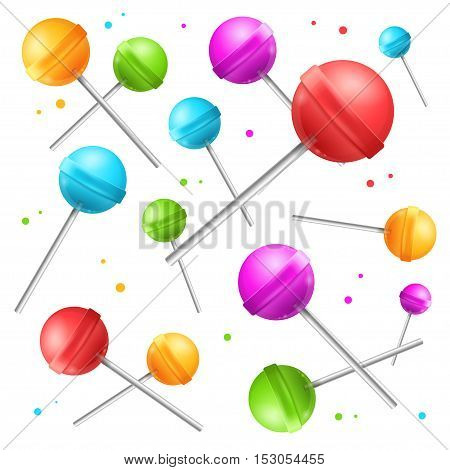 Lollipop with Stick Sugar Candy Background. Sweet Food. Vector illustration