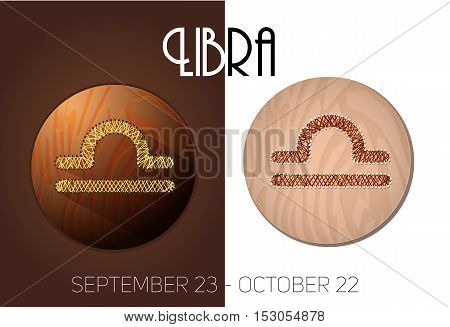 Libra zodiac sign in circular frame vector Illustration made in the form of filaments. Icons on a wooden background