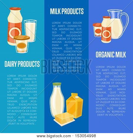 Milk and dairy products horizontal website templates with different dairy product composition isolated on blue background vector illustration. Natural healthy food. Organic farmers products. Organic food. Milk icon and cheese icon. Organic concept. Dairy