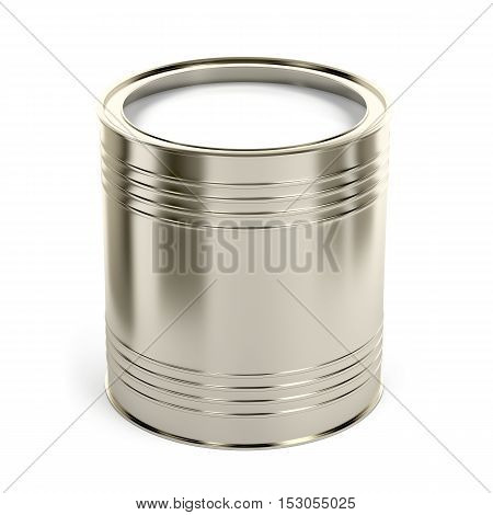 Canister with white paint or other liquid on white background, 3D illustration