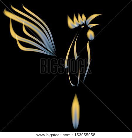 Abstract illustration of a fiery cock on a black background. 2017 red rooster. Vector illustration