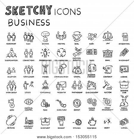 Icon set business people and finance with money, graphs, calculator, shaking hands, hand drawn vector doodle.