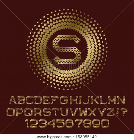 Rhombuses patterned gold letters and numbers with s initial monogram. Beautiful font for logo design. Isolated english alphabet figures.