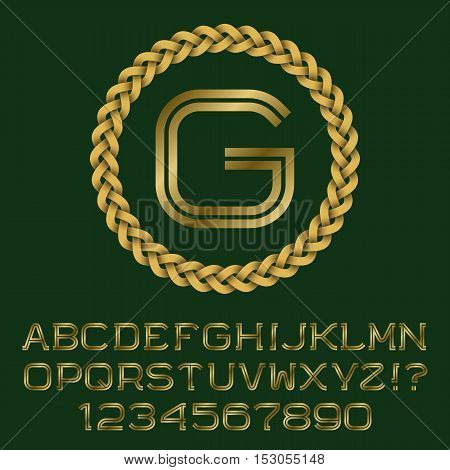 Double line gold letters and numbers with G initial monogram. Beautiful font for logo design. Isolated english alphabet.