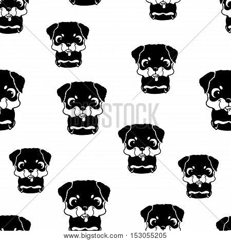 Seamless pattern with rottweiler puppies. Black and white vector illustration. Wallpaper with cartoon dog with funny muzzle