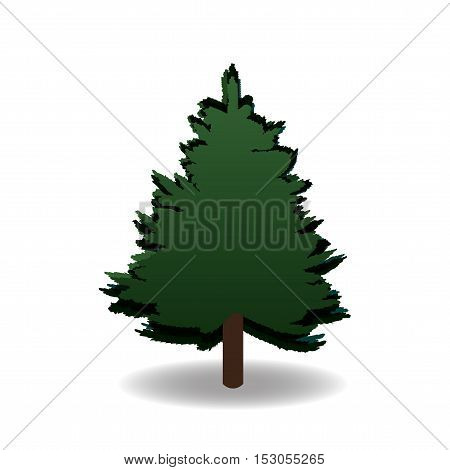 Green fir for advertising and announcements. Christmas symbol. New Year. On a white background isolated. Vector illustration