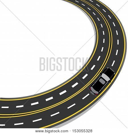 bend in the road with yellow and white markings. Auto. Vector illustration