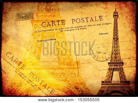 Grunge background with texture of the old, soiled paper, Eiffel tower and vintage post card