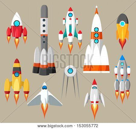 Cartoon rockets icons. Vector futuristic space ships set