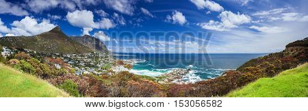 Cape Town panoramic landscape, Camp's Bay and Lion's Head mountain, coastal city between mountains, South Africa