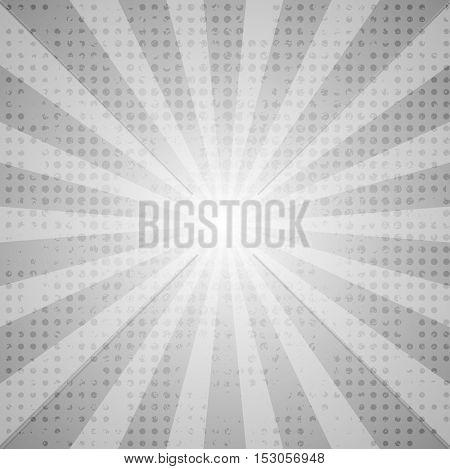 Grey abstract retro beams background. Vector comic illustration