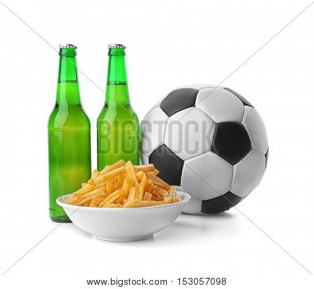 Beer with snacks and football ball on white background