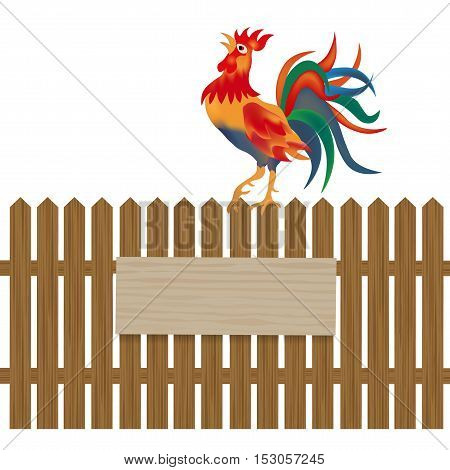 A fence made of wood. Notice boards and advertising. Rooster on the fence. Symbol Rooster 2017. Vector illustration
