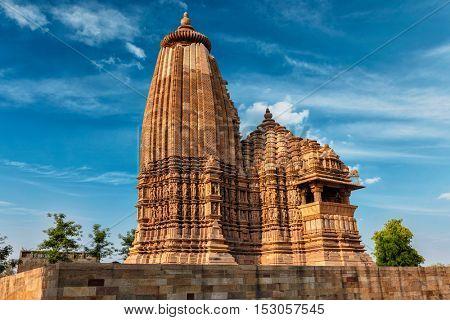Vaman Temple - one of famous tourist attractions of  Khajuraho with sculptures. India, Khajuraho, Madhya Pradesh, India