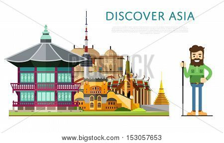 poster of Welcome to Asia travel on the world concept traveling flat vector illustration. Worldwide traveling. Asia landmarks. Famous Asian buildings. Asian architecture in a cartoon style. Asia travel concept. World travel background. Travel asia banners. Time to