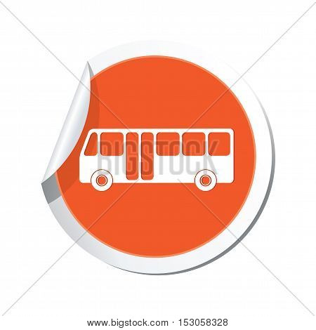 Bus icon on the sticker. Vector illustration