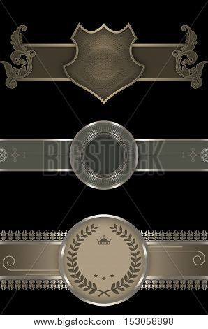 Decorative vintage borders with pattern and ornament on black background. Decorative elements for the design.