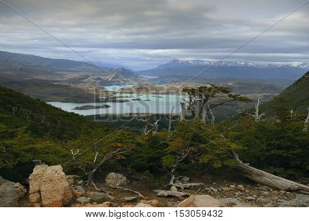 Stunning vista of lake and mountain landscape, Torres del Paine