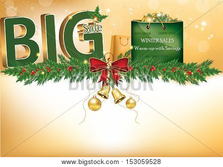 Winter big sales poster for print. Contains 3D text: big sale, a big green shopping bag with Christmas baubles, pine-tree branches with mistletoe. Format A3. Print colors used..