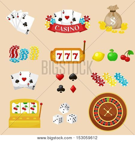 Gambling pictograms set. Deck of cards and casino, playing poker, venturesome game, dice and ace vector illustration