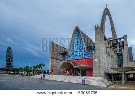HIGUEY, DOMINICAN REPUBLIC - CIRCA NOVEMBER, 2015: Monumental cathedral Nuestra de la Altagracia in Higuey city, Dominican Republic