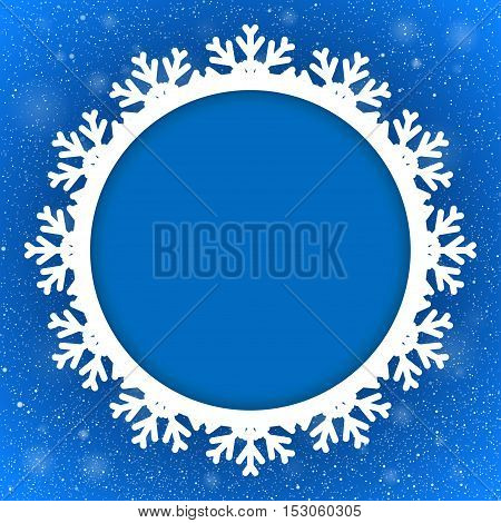 Vector Circle Frame Snowflake. Falling Snow. Blue Winter Frame Background. Winter Snowfall. Holidays New Year and Merry Christmas.