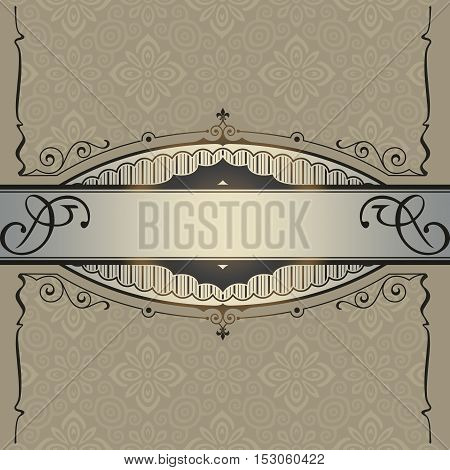 Vintage background with floral patterns decorative border and frame. Book cover or vintage card design.
