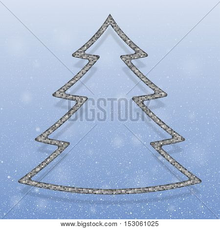 Falling snow vector. Winter snowfall hand drawn spray texture. Silver sequins in the form christmas tree. Mosaic, sequins, glitter, sparkle, stars. Christmas tree. Happy New Year and Merry Christmas.