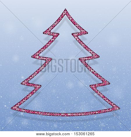 Falling snow vector. Winter snowfall hand drawn spray texture. Pink sequins in the form christmas tree. Mosaic, sequins, glitter, sparkle, stars. Christmas tree. Happy New Year and Merry Christmas.
